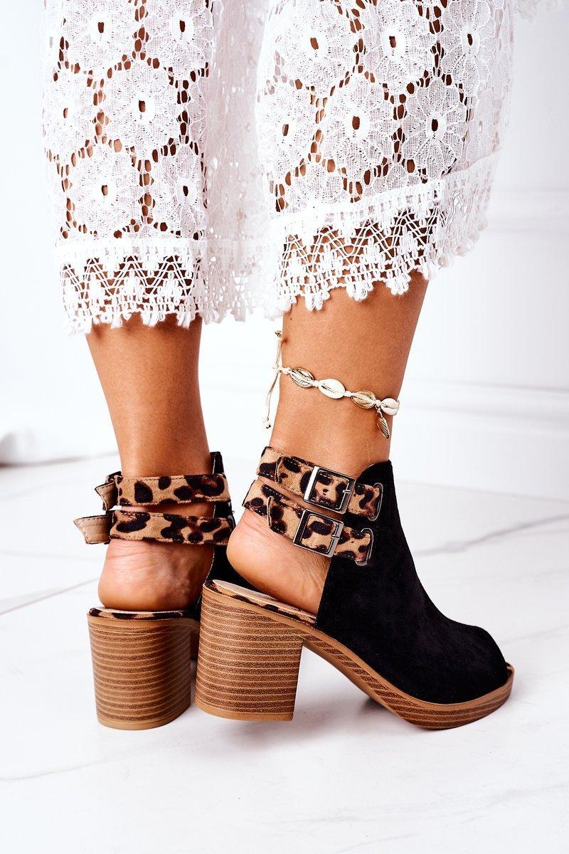 Suede Sandals On A Block Heel Lu Boo Black Leopard