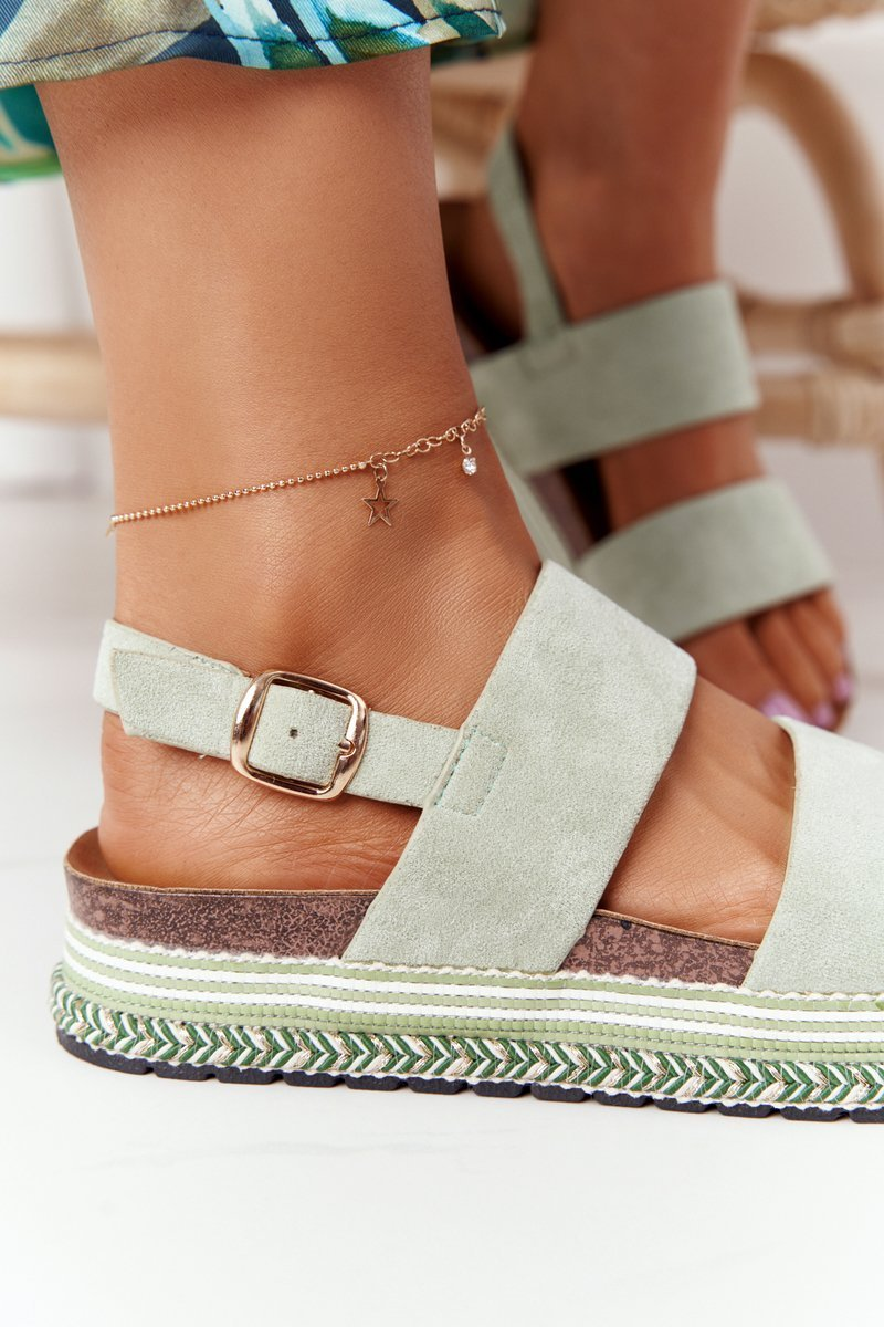 Suede Sandals On A Platform Green Olimpia