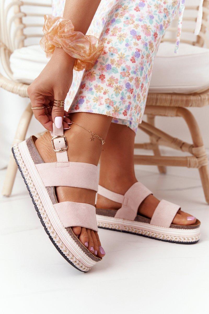 Suede Sandals On A Platform Pink Olimpia