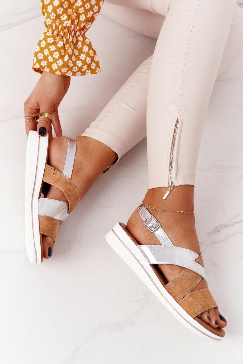 Suede Sandals Sergio Leone SK039 Beige-Silver
