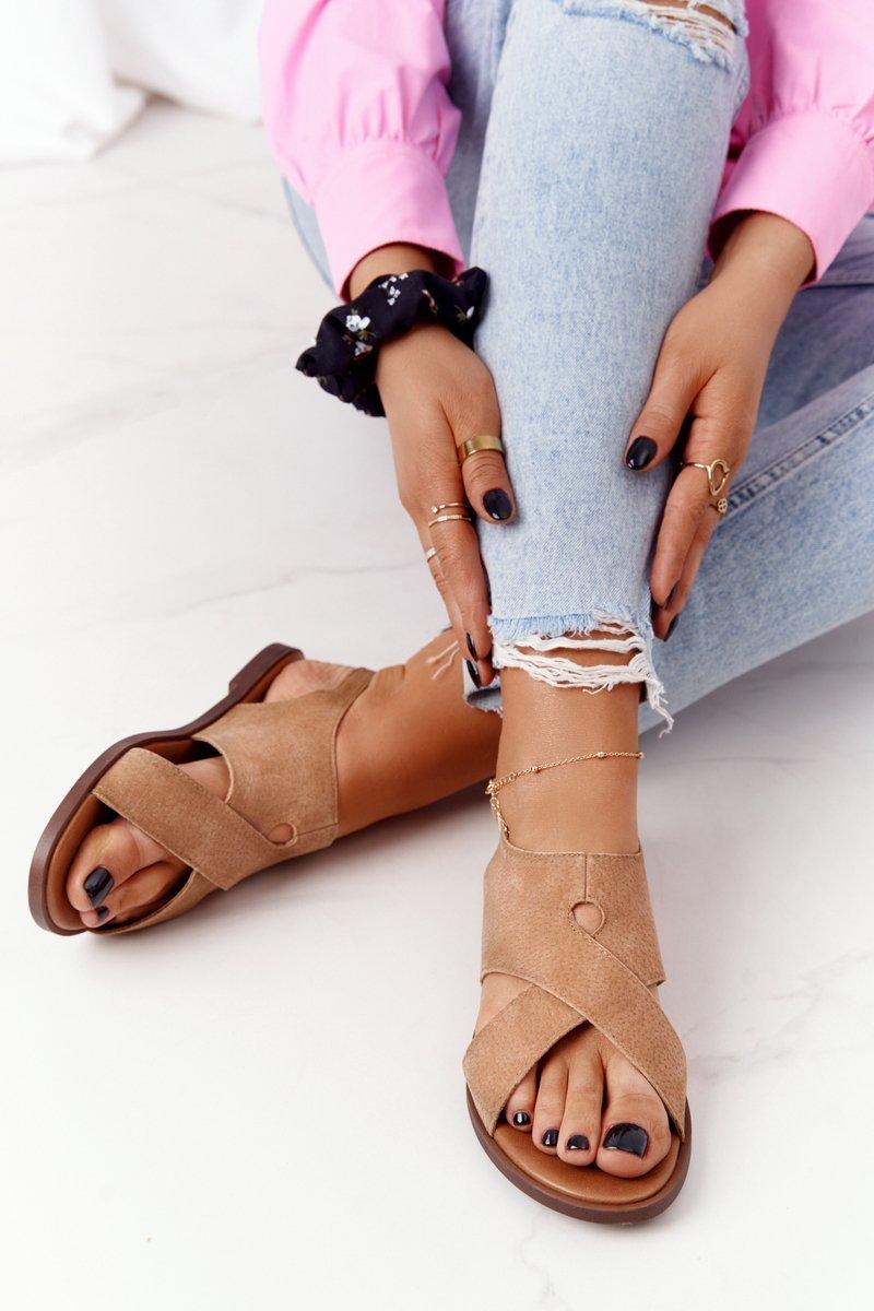Suede Sandals Sergio Leone SK060 Beige