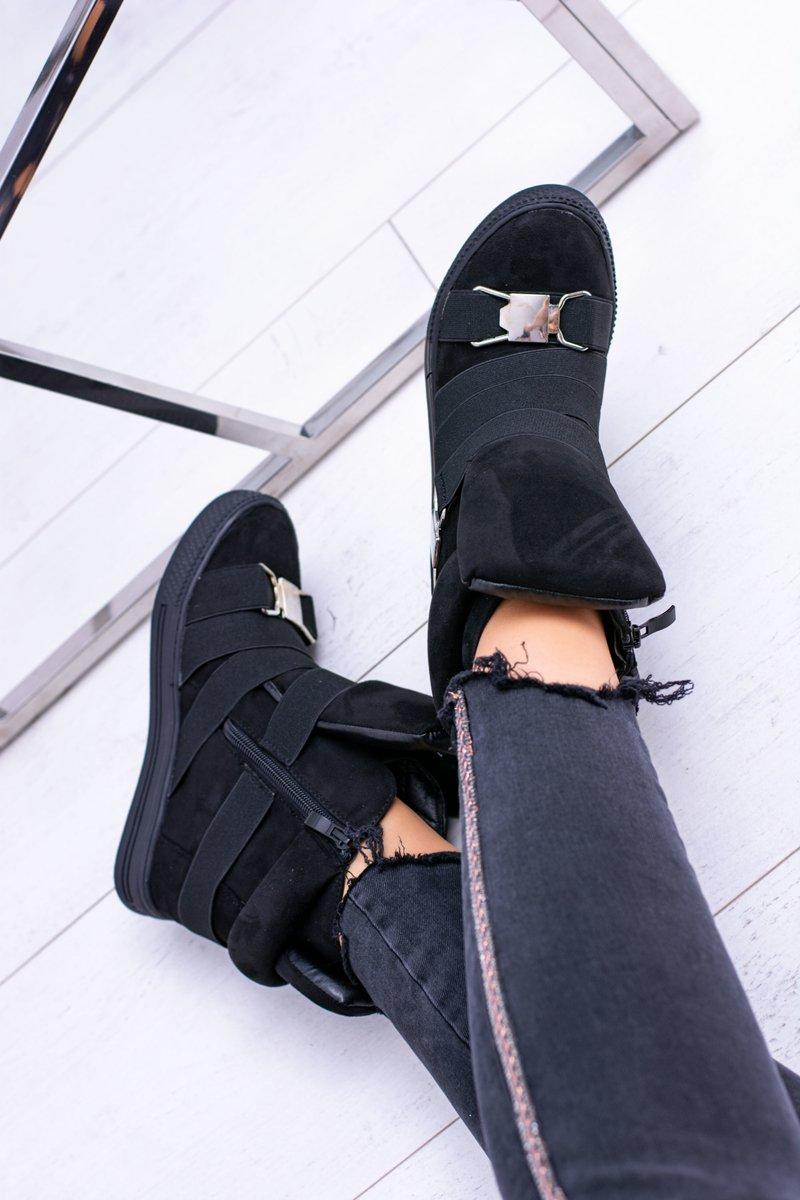 Suede Wedge Sneakers Lu Boo Black