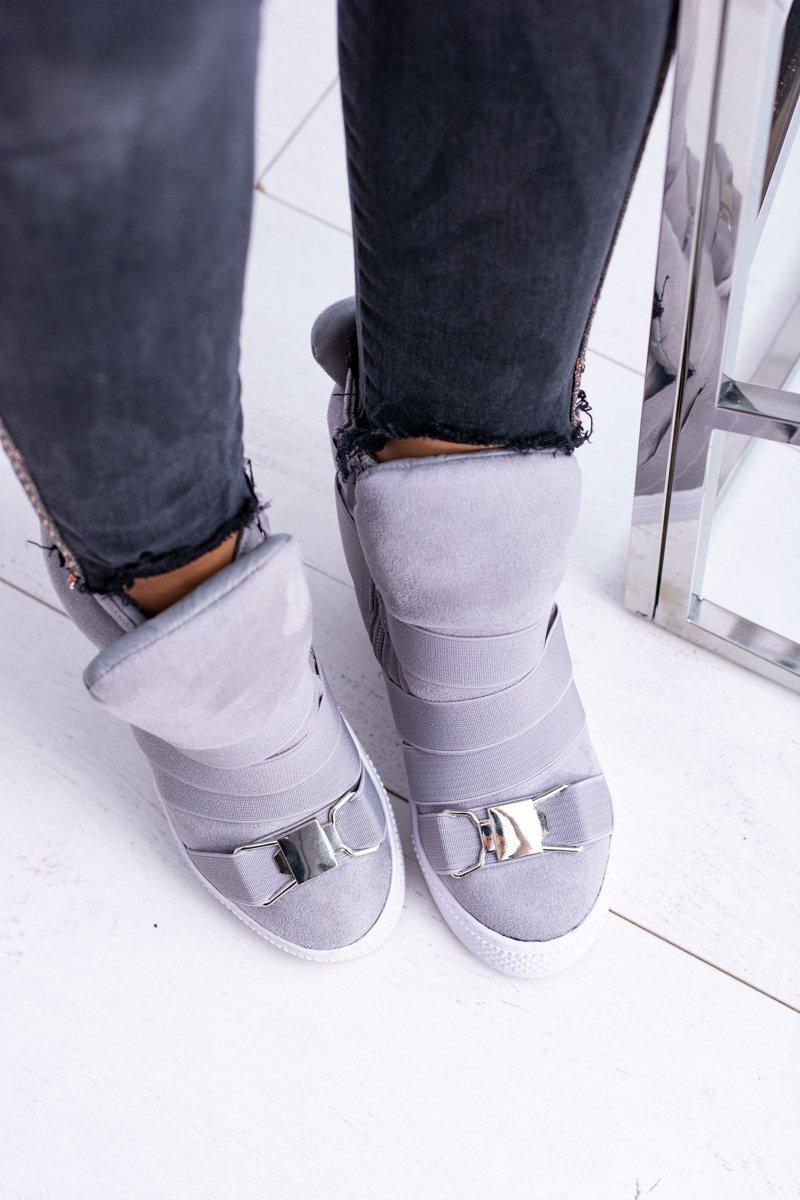 Suede Wedge Sneakers Lu Boo Grey