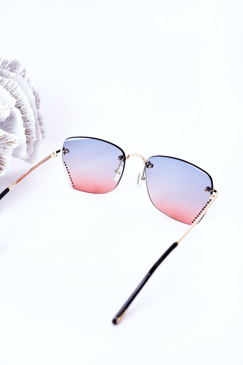 Sunglasses With Cubic Zirconia Blue-Pink Ombre
