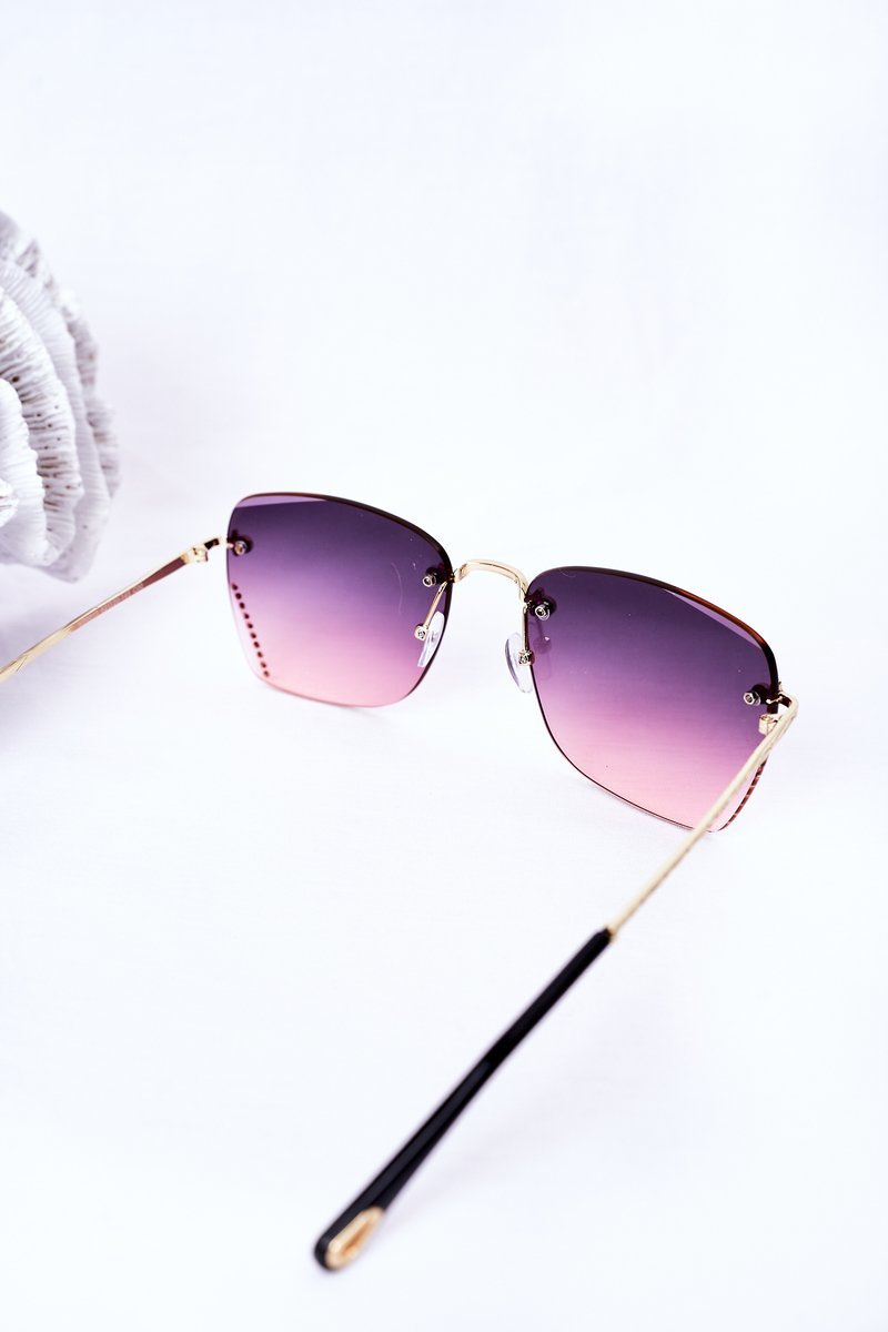 Sunglasses With Cubic Zirconia Pink Ombre