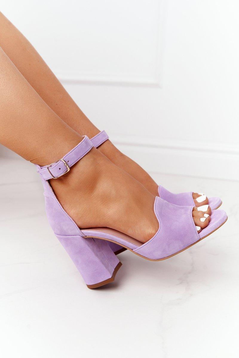 Velor High Heel Sandals Purple Visconi 4361537