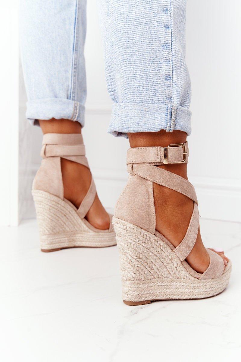 Wedge Sandals With Braids Beige Lanzarote