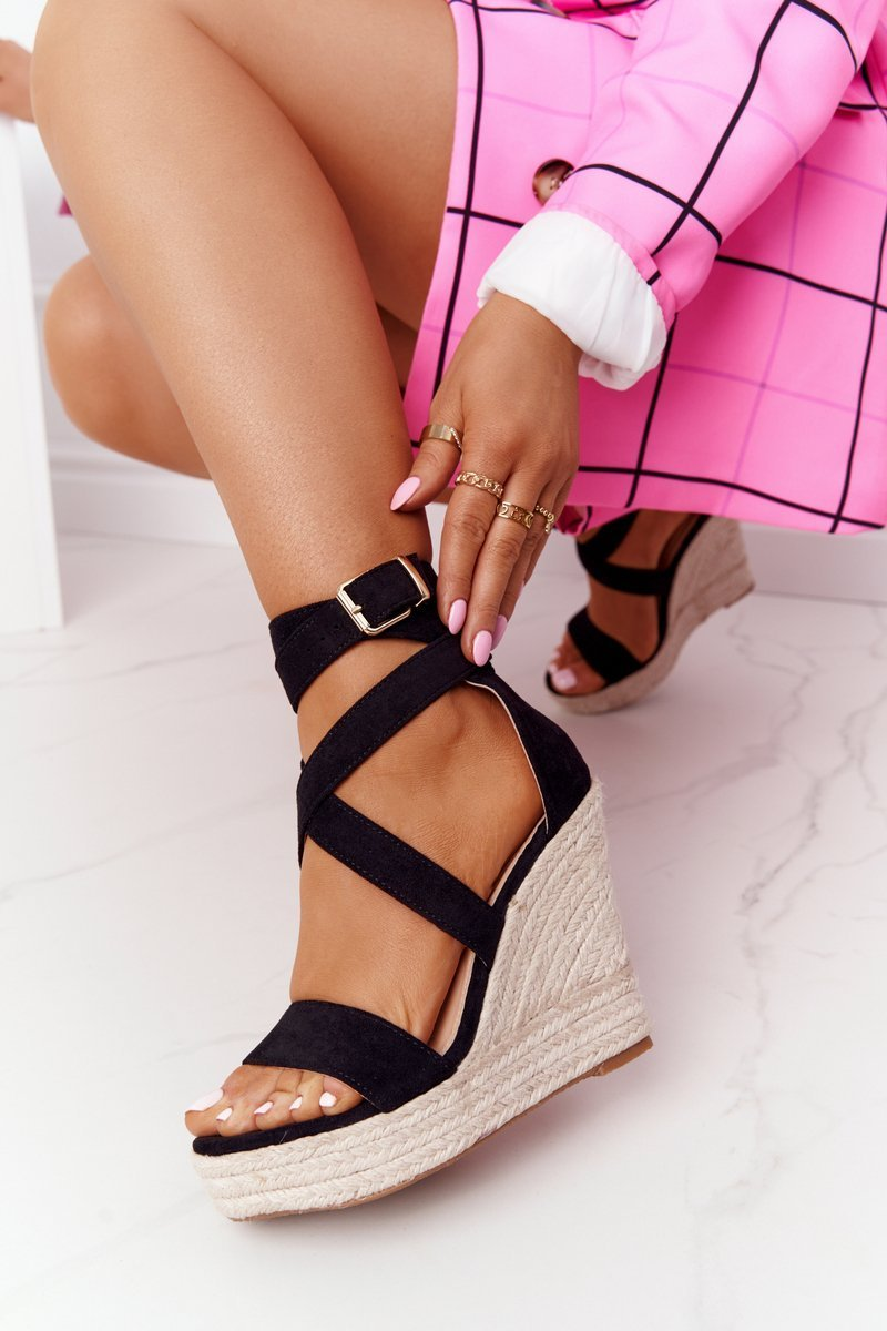 Wedge Sandals With Braids Black Lanzarote