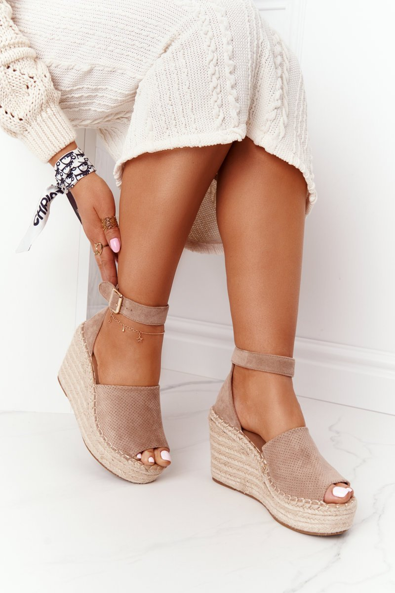 Wedge Sandals With Braids Light Brown Makenna