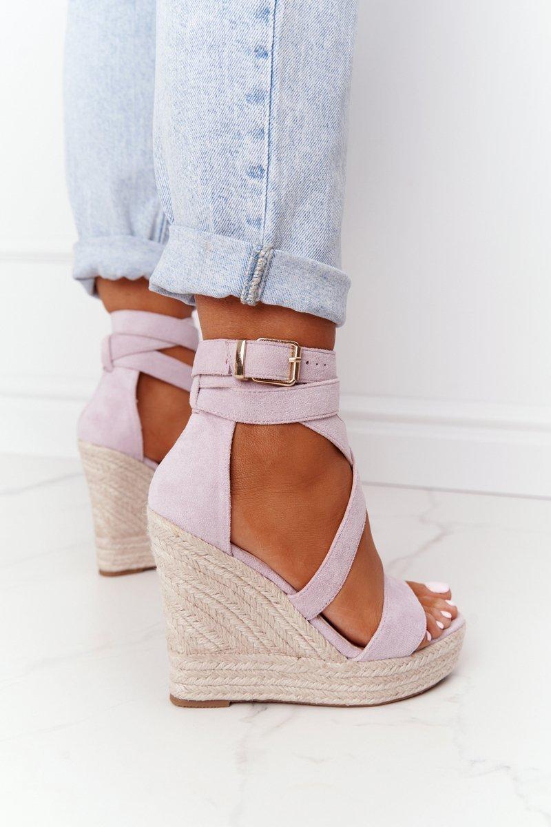 Wedge Sandals With Braids Purple Lanzarote