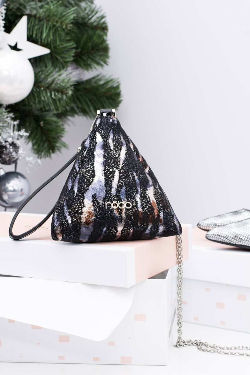 Women Handbag Pyramid Gray Black Nobo