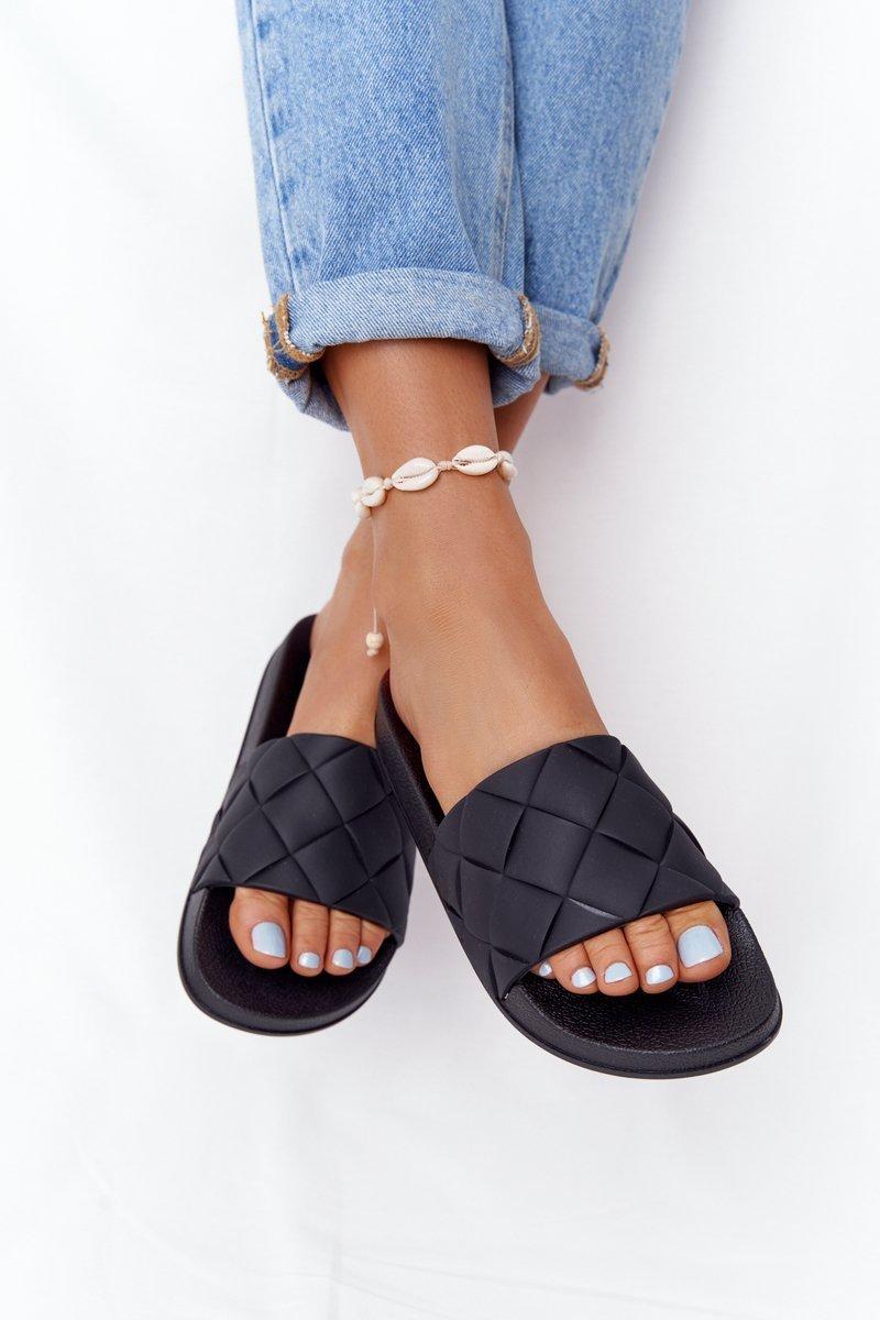 Women's Black Rubber Slippers Let's Swim
