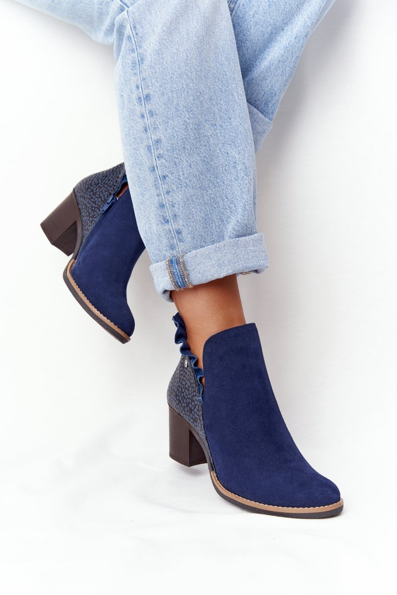 Women's Leather Block Heel Boots Maciejka Navy Blue 04833-17
