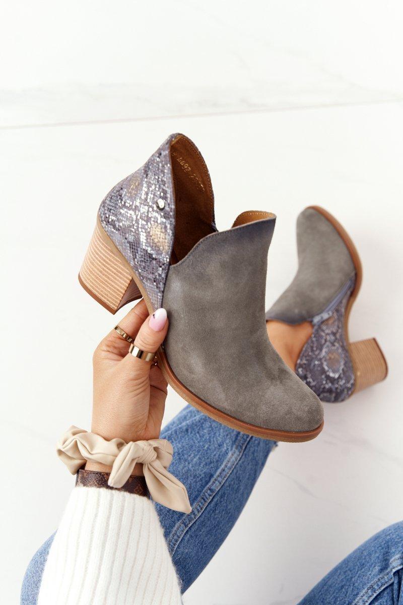 Women's Leather Boots On Block Heel Maciejka Grey 04492