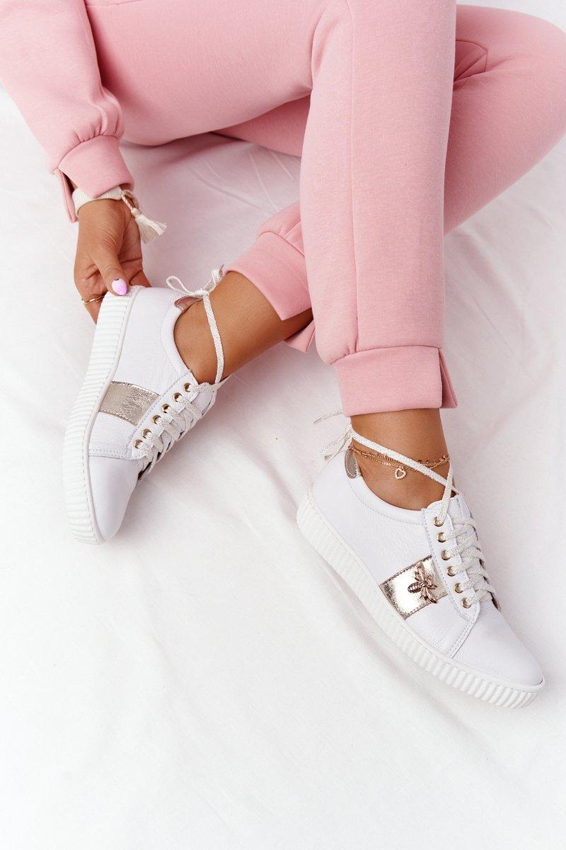 Women's Leather Sneakers Lewski Shoes 2786-0 White-Gold