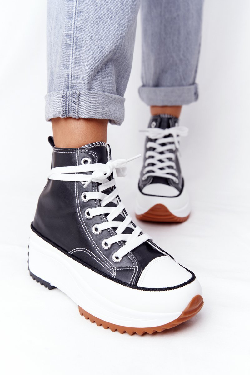 Women's Leather Sneakers On A Platform Black Coachella