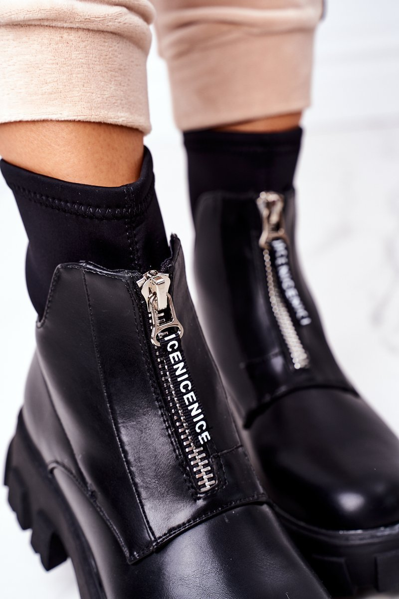 Women's Platform Boots With A Zipper Black Cheers