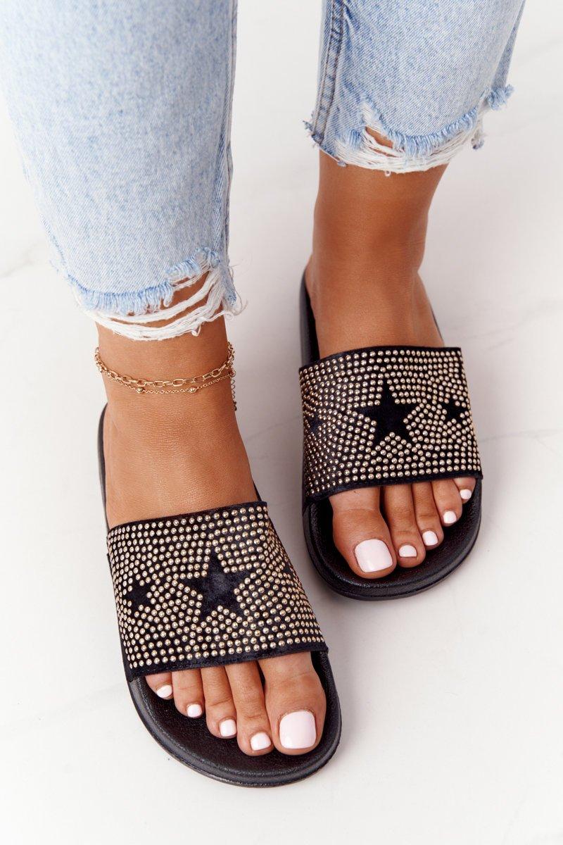 Women's Rubber Slippers With Rhinestones Black Edie