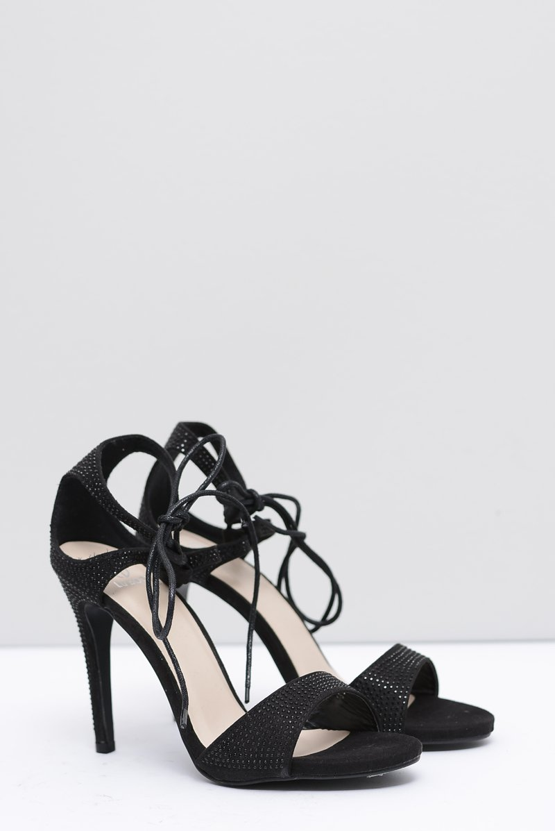 Women's Sandals On High Heel With Zircons Black Belona