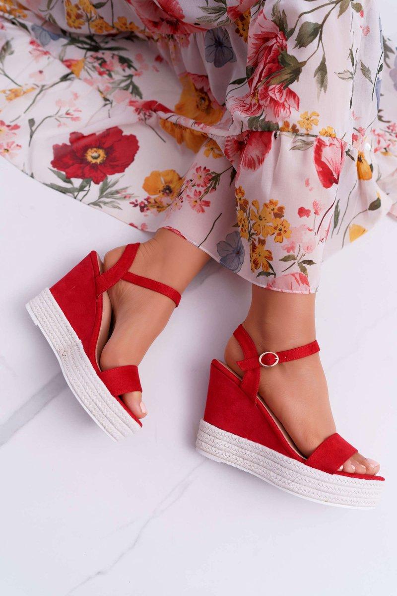 Women's Sandals On Wedge Linen Red Liviana