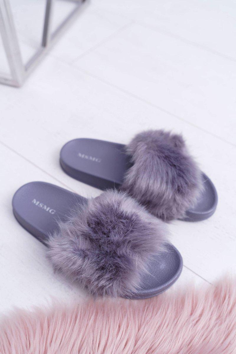 Women's Slides With Fur Dark Grey Fur