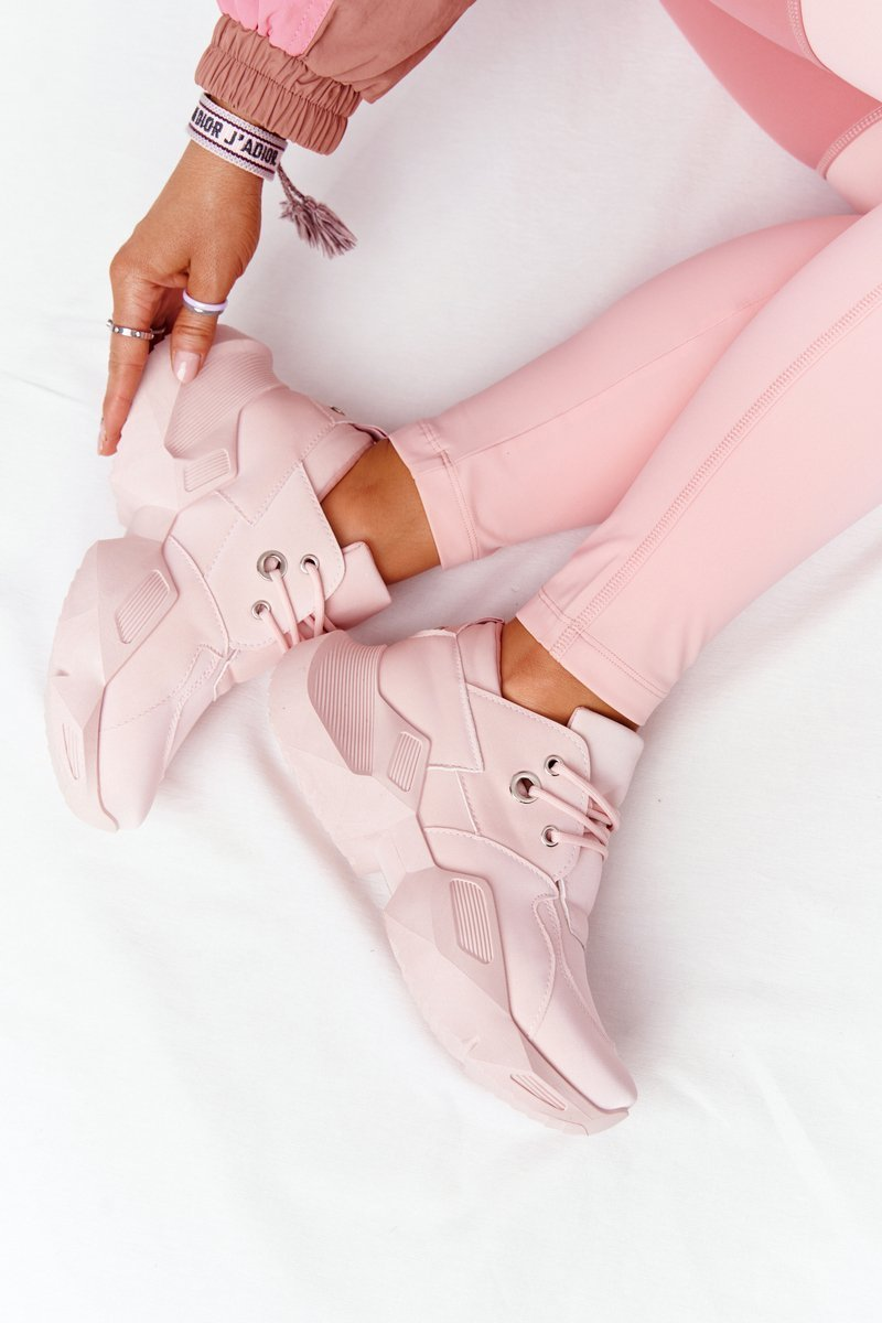 Women's Sneakers On A Chunky Sole Pink Bubbly