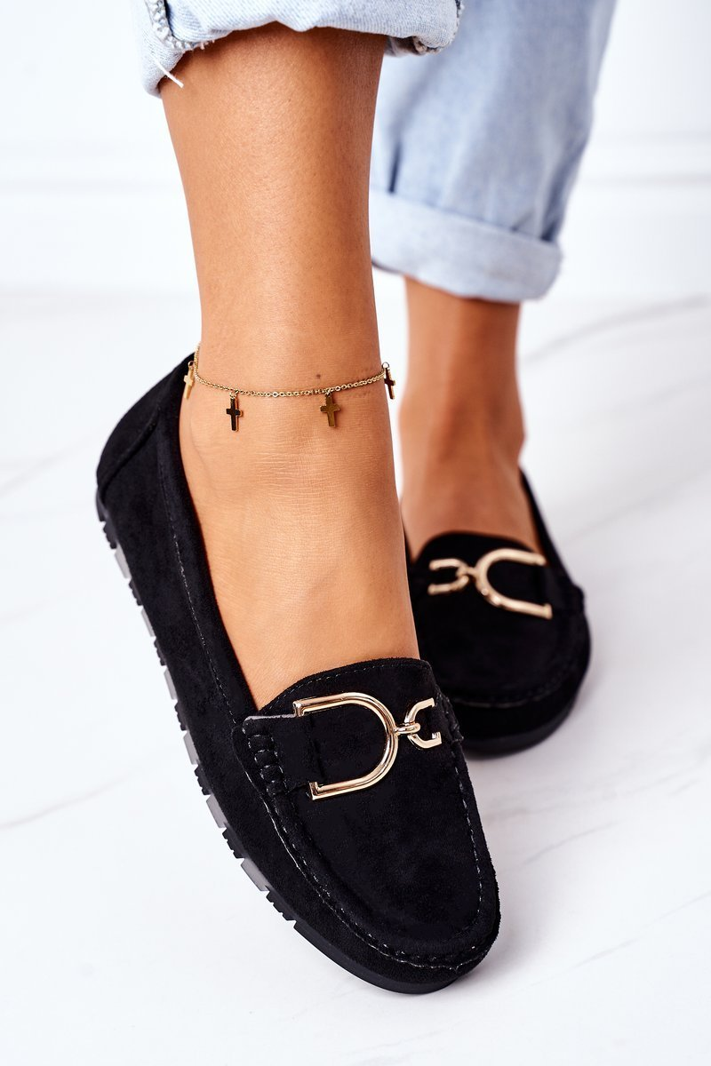 Women's Suede Loafers Black Downtown