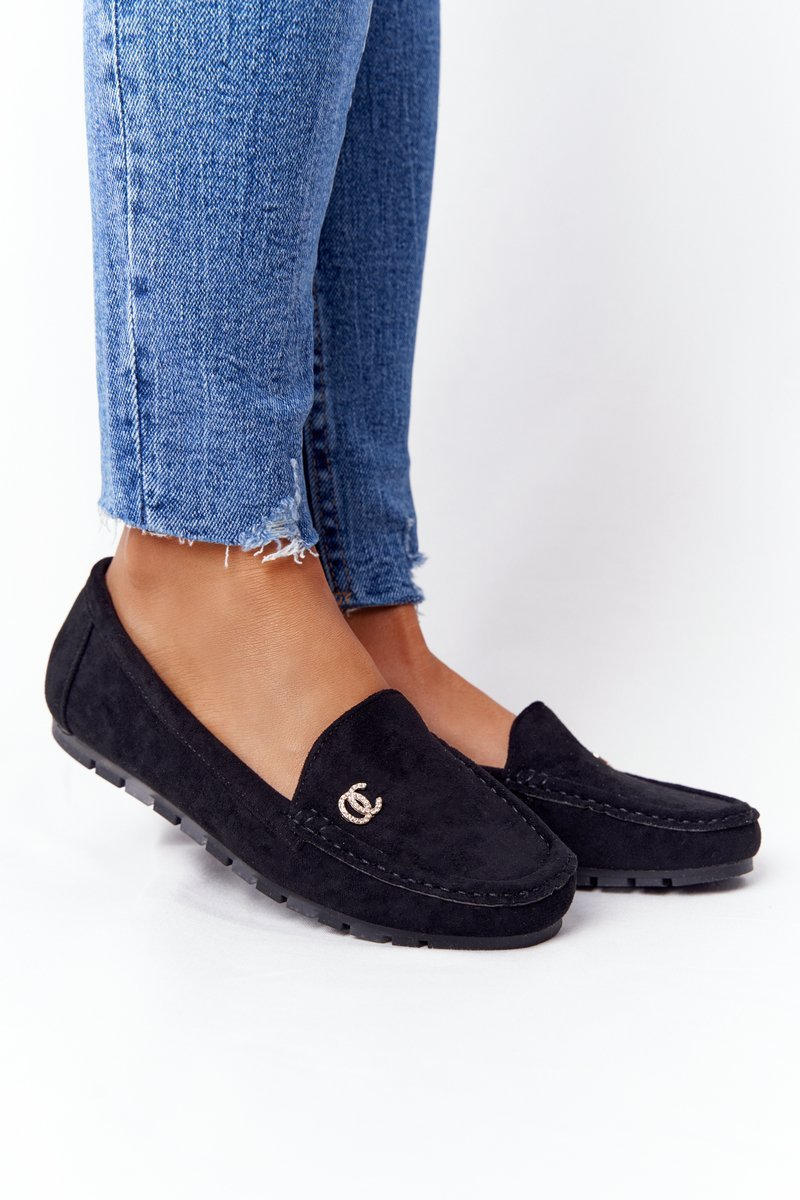Women's Suede Loafers Black Madelyn