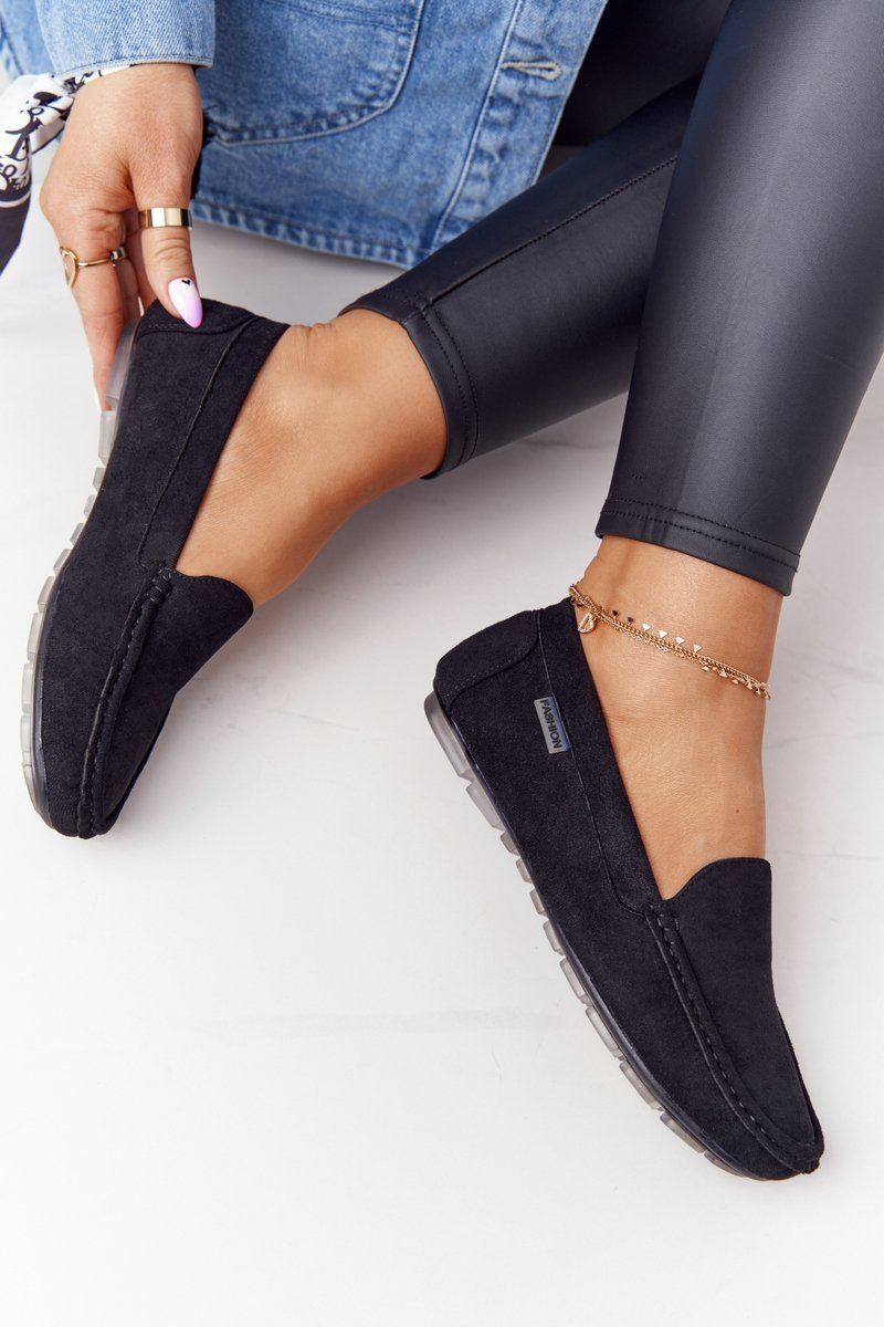Women's Suede Loafers Black San Marino