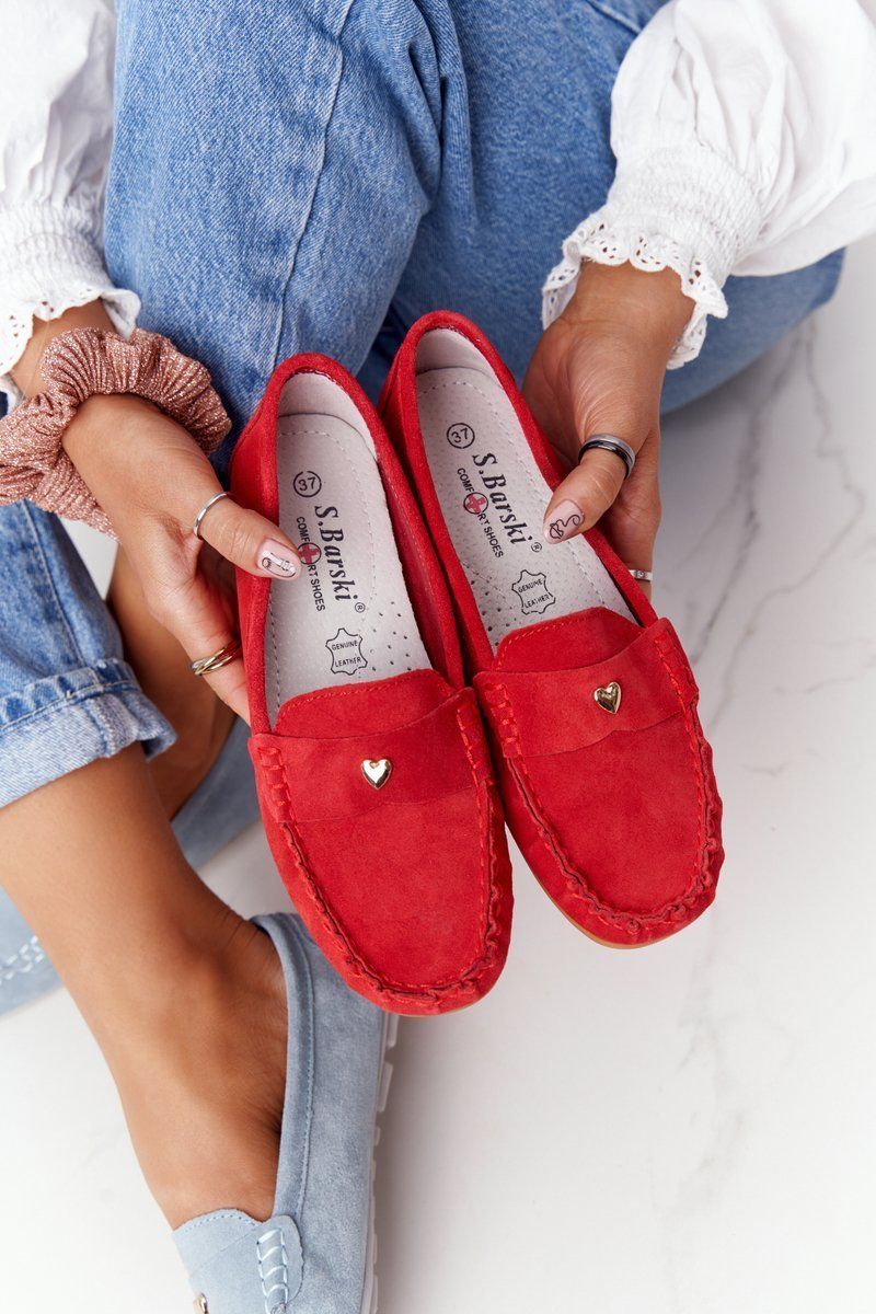 Women's Suede Loafers S.Barski Red