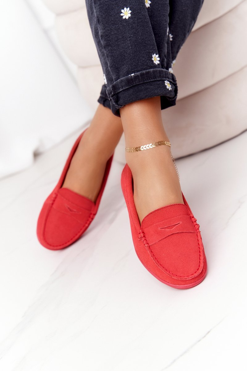 Women's Suede Moccasins Big Star HH274668 Coral