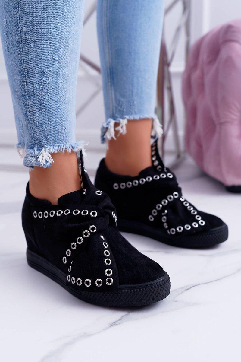 Women's Wedge Sneakers Black LU BOO Margo