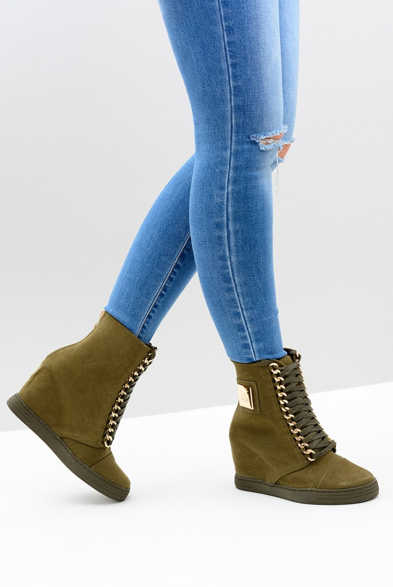 Women's Wedge Sneakers Lu Boo Suede With Chains Olive Monica