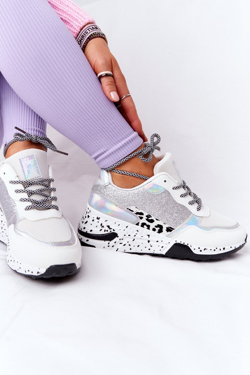 Women's Wedge Sneakers White With Glitter Avery