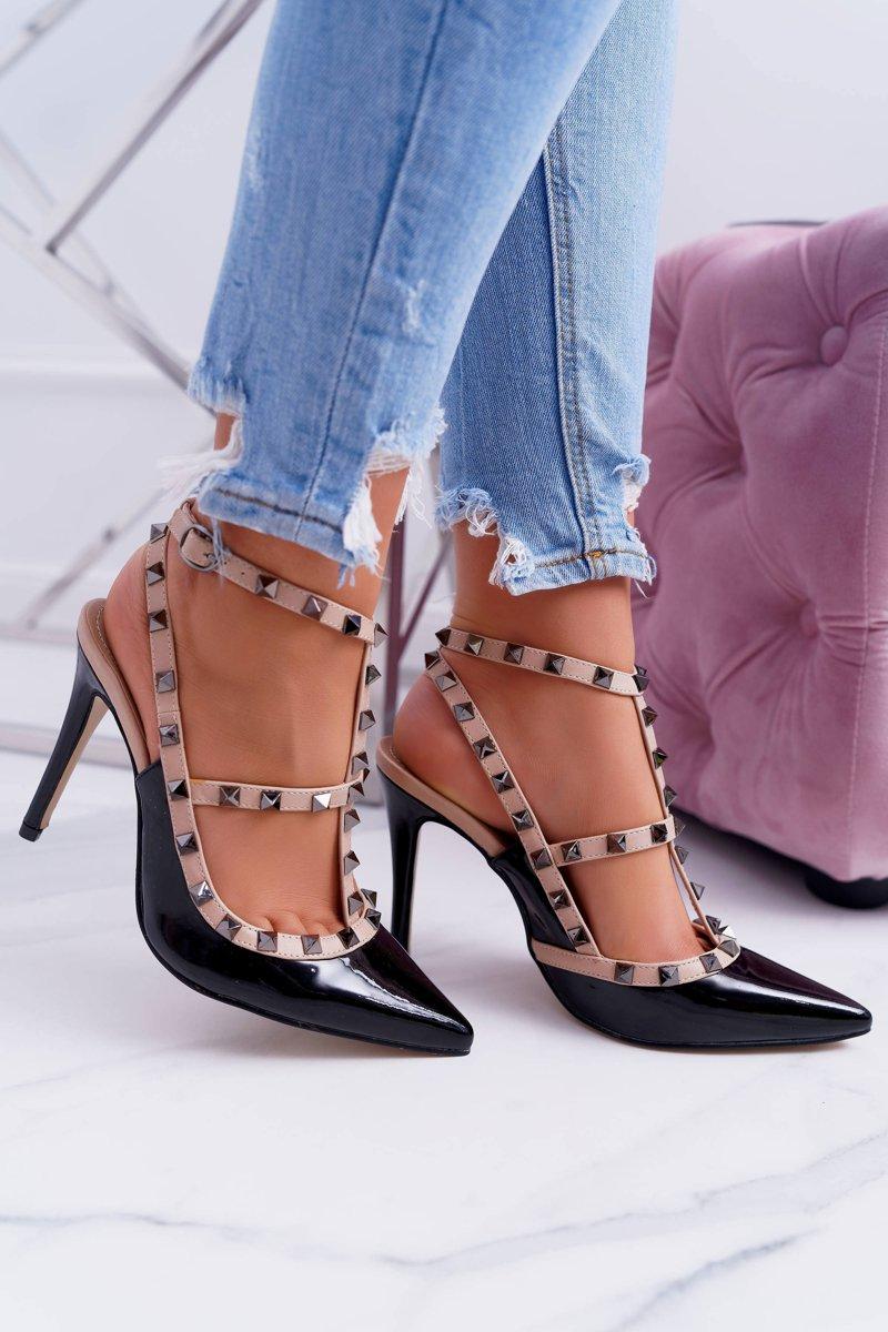 Women's stilettos Vices Lacquered On Studs Valenti Jets Black