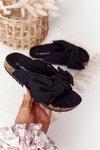 Children's Slippers On Cork Black Little Wendy