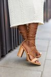 Lace-up High Heel Sandals Camel Catwalk