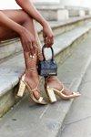 Lace-up High Heel Sandals Gold Catwalk