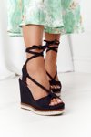 Lace-up Wedge Sandals Black Hawaii