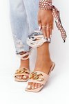 Leather Slippers With A Chain Nude French Kiss