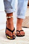 Lu Boo | Black Aztec Flip Flops Havanna
