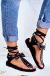 Lu Boo Women's Black Tied Sandals Japanese Mara
