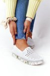 Openwork Leather Slip-On Shoes Maciejka White 03512B-11
