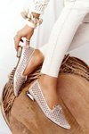 Openwork Loafers On Gold Heels Vinceza 21-10602 Gold