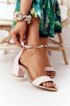 Suede High Heel Sandals Pink Janet