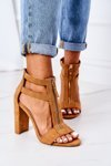 Suede Sandals On A Block Heel Camel Folly
