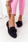 Suede Women's Loafers With Fringes Black Alicante