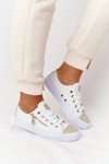 Women's Sneakers With A Zipper White-Gold Festival