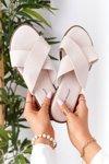 Women's Suede Slippers Beige Edesa